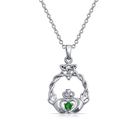 Claddagh Celtic Friendship Heart Shape Pendant Kelly Green Cubic Zirconia CZ .925 Sterling Silver 18 in