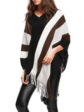 dbc5bd635f3670 Product Image Knit Tassel Fringed Pullover Poncho Sweater Cape Shawl Wrap  for Women Knitted Cardigan Pullover Jumper Coat