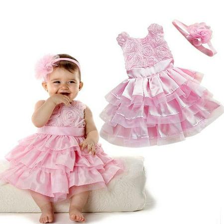 Rose Garden Pink Rosette Silk Dress Easter Flower Baby Girl Wedding New+headband