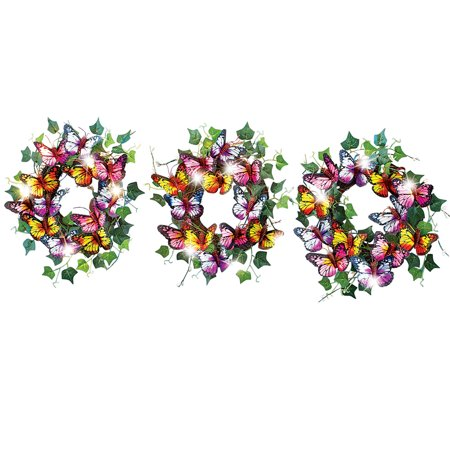 Solar Butterfly Wreaths Outdoor Railing Decoration - Set of - Butterfly Wreath