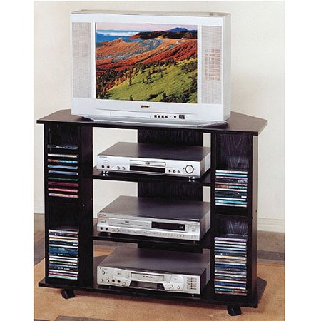 Black Tv Stand With Storage  For Tvs Up To 35
