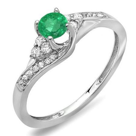 Dazzlingrock Collection 14K Round White Diamond And Emerald Ladies Swirl Bridal Engagement Ring, White Gold, Size 6.5 Swirl Ladies Ring