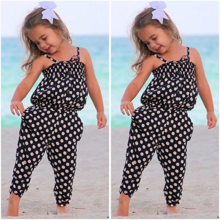 Toddler Baby Girl Kids Polk Dot Romper One-piece Jumpsuit Playsuit Harem Pants (Girls One Piece Jumpsuit)