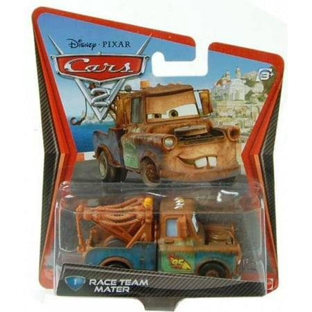 Race Team Mater Cars 2 Character Vehicle Tow Truck Die-Cast Car Checkout Lane Package Disney Pixar Toy Figure Collectible Movie