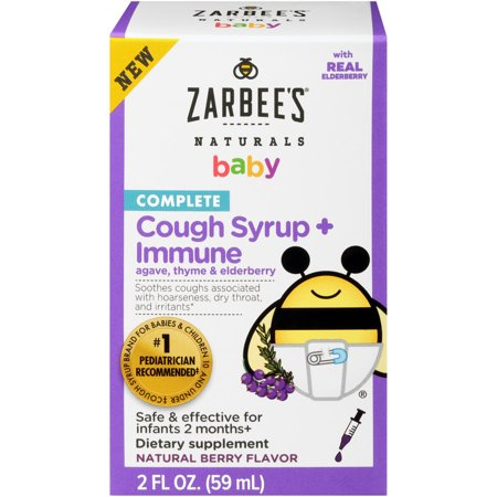 Zarbee's Naturals Complete Baby Cough Syrup + Immune with Agave, Thyme & Elderberry, 2 Fl. Ounces (1