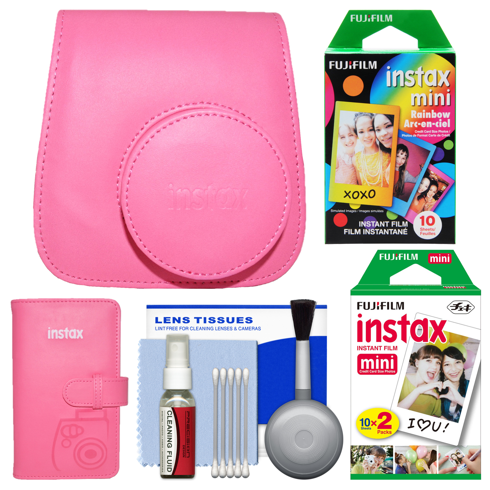 Fujifilm Groovy Case for Instax Mini 9 Instant Camera (Flamingo Pink) with Photo Album + 20 Twin & 10 Rainbow Prints + Cleaning Kit