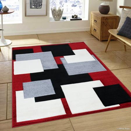 Allstar Red Modern Geometric Grey and Black square design Area Rug (3' 9
