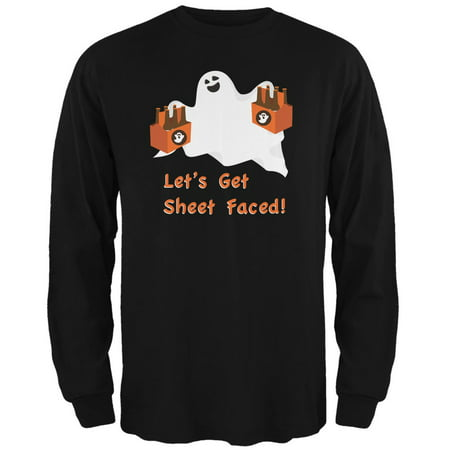 Halloween Ghost Sheet Faced Black Adult Long Sleeve T-Shirt](Halloween Ghost Tours Chicago)