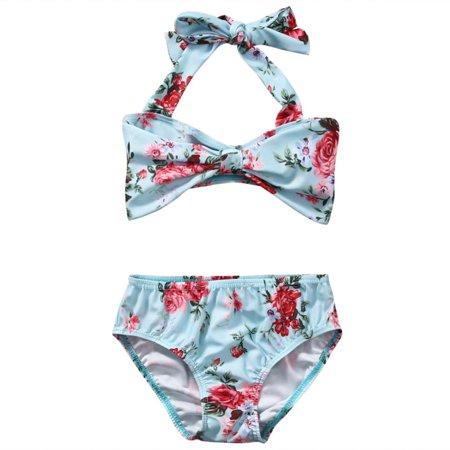 Floral Girls Kids Infant Bikini Set Swimwear Swimsuit Bathing Swimming Suit Costume 1-6Y