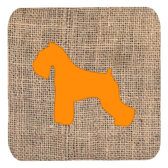 Schnauzer Burlap And Orange Foam Coasters - Set 4, 3.5 x 3.5 In. - image 1 of 1