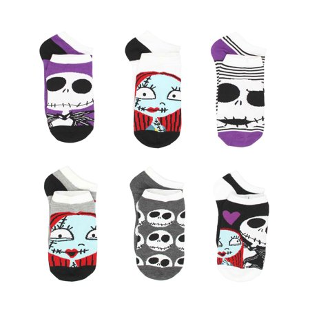 The Nightmare Before Christmas Womens 6 pack Socks (Teen/Adult) F5061H - Nightmare Before Christmas Clothing