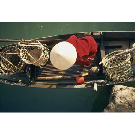 View From Above of Vietnamese Woman In Conical Hat In A Boat Poster Print, 18 x - Conical Hat