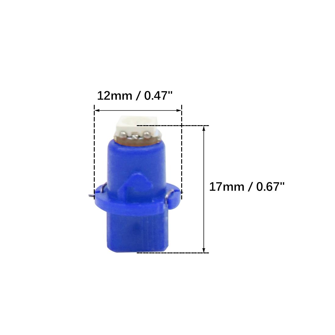 6pcs T5 LED Bulb Light 5050 SMD Car Instrument Cluster Blue Lamp Interior DC 12V - image 3 de 4