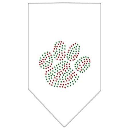 Christmas Paw Rhinestone Bandana White Small