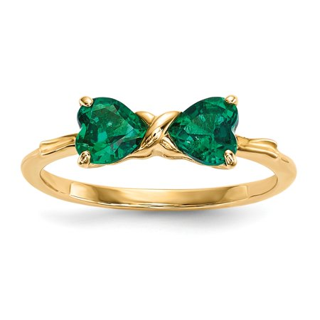Solid 14k Gold Polished Simulated Emerald Bow Ring (1mm) - Size 4