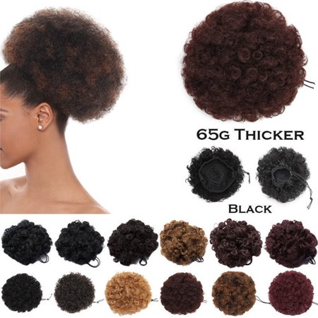 S-noilite Afro Bun Extension Puff Ponytail Chignon Hairpiece With Drawstring Afro Kinky Curly Wrap Messy Updo Synthetic Dark - Huge Afro