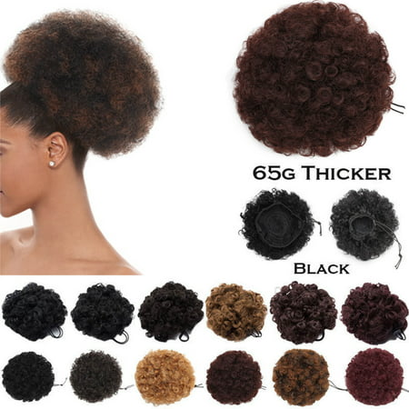 S-noilite Afro Bun Extension Puff Ponytail Chignon Hairpiece With Drawstring Afro Kinky Curly Wrap Messy Updo Synthetic Dark (World's Largest Afro)