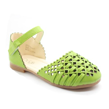 Little Girls Green Cut-Out Woven Texture Ankle Strap Dress Shoes