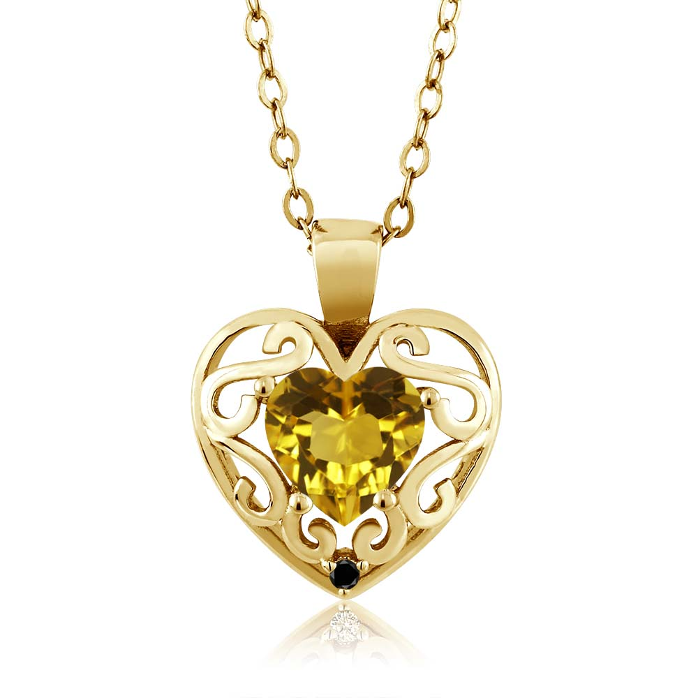 0.73 Ct Heart Shape Citrine Black Diamond Gold Plated Sterling Silver Pendant