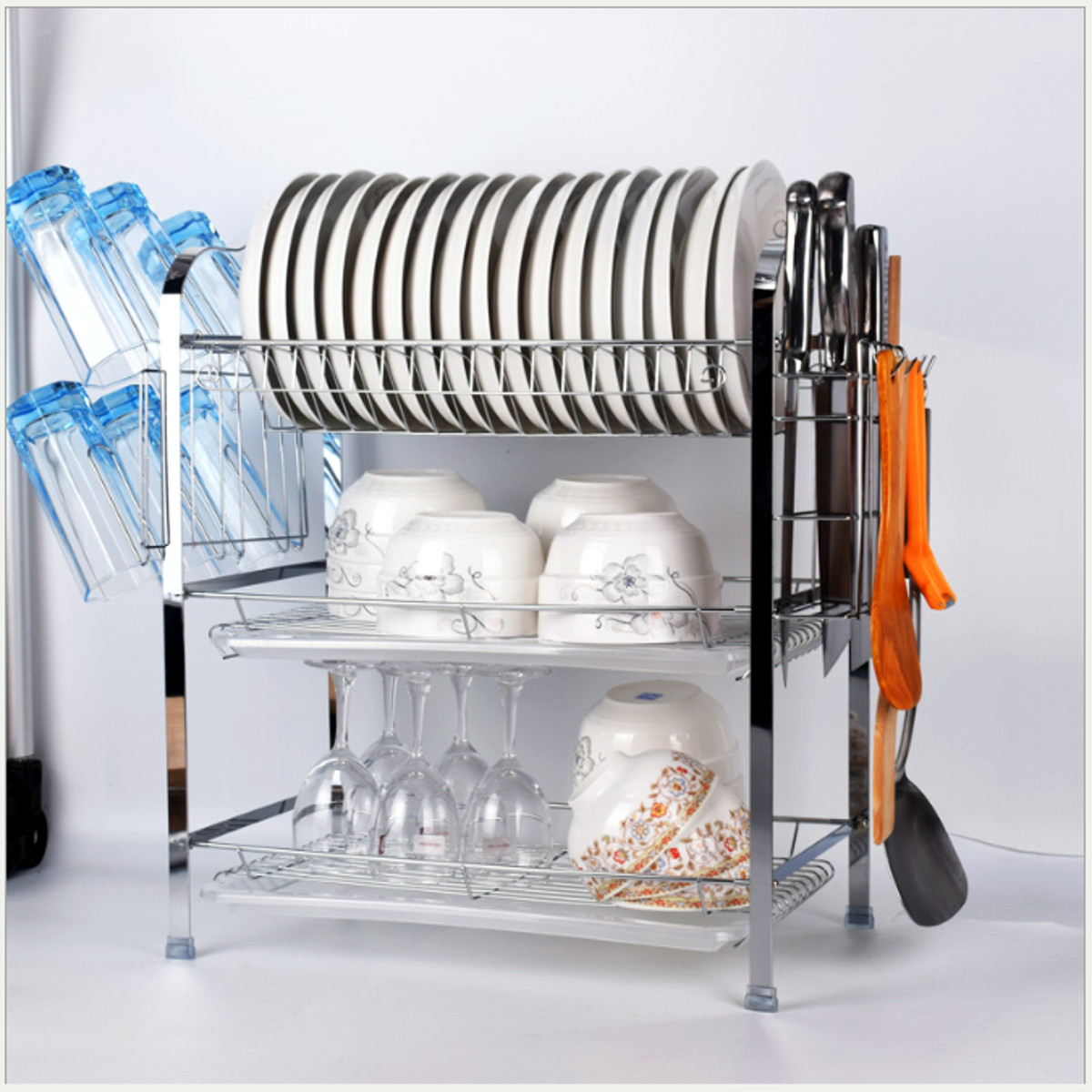 Kitchen Dishes Drain Holder Bowl Cup Pot Rack Storage Organizer Decor Gift FI