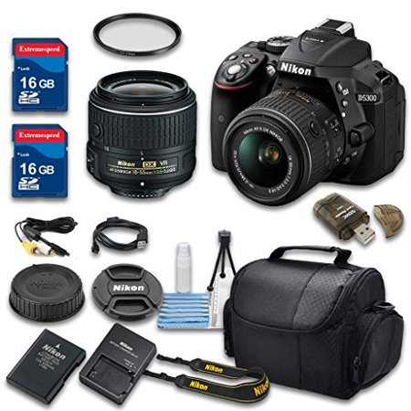 Nikon D5300 DSLR Digital SLR Camera Body + 18-55mm VR II Lens + 2 Pieces  16GB High Speed SDHC Memory Cards + 52mm High Definition UV Filter and More