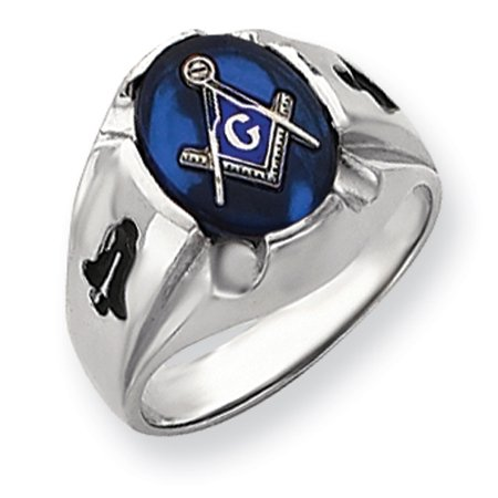 14k White Gold Men's Masonic Ring