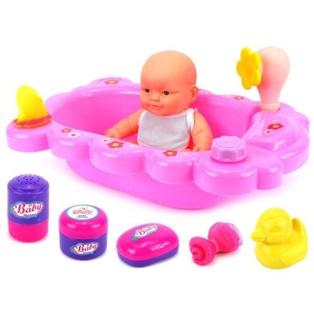 velocity toys mommy baby bathtub time toy baby doll playset w baby dol. Black Bedroom Furniture Sets. Home Design Ideas