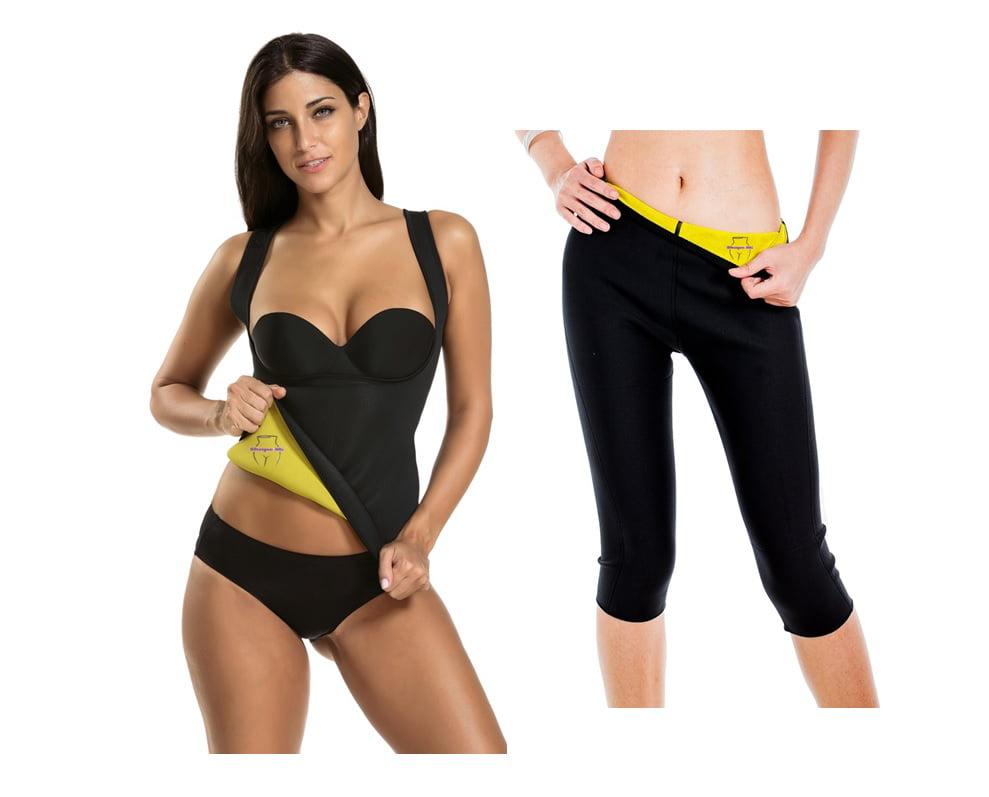 Sauna Sweat Slimming Vest and Capri pants Apparel 2 Piece Set 2X Large by Prime Shaper