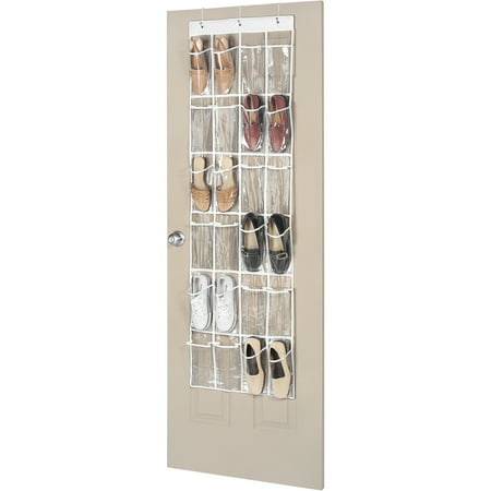 Whitmor 24 Pocket Over The Door Shoe Organizer Clear