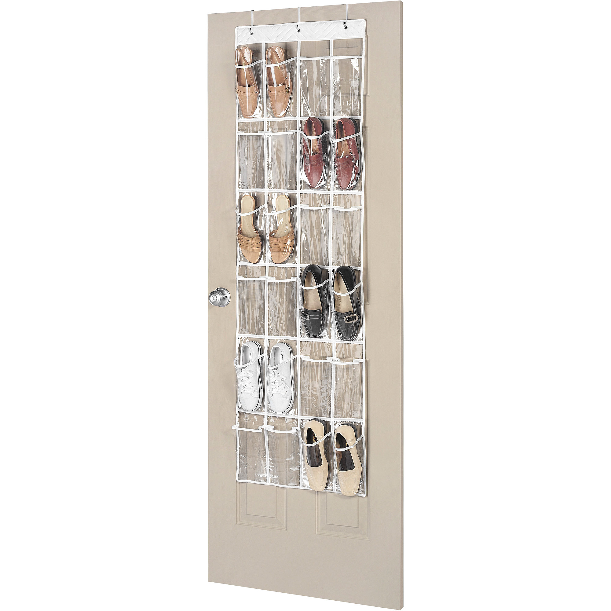 Product Image Whitmor 24 Pocket Over The Door Shoe Organizer   Clear