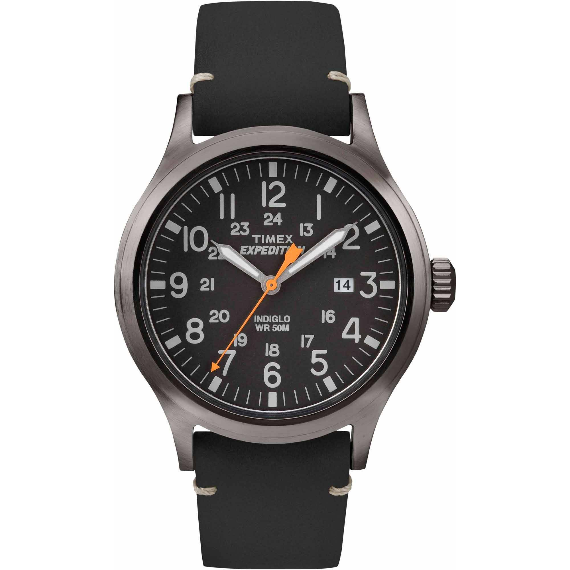 Timex Men's Expedition Scout Watch, Black Leather Strap by Timex