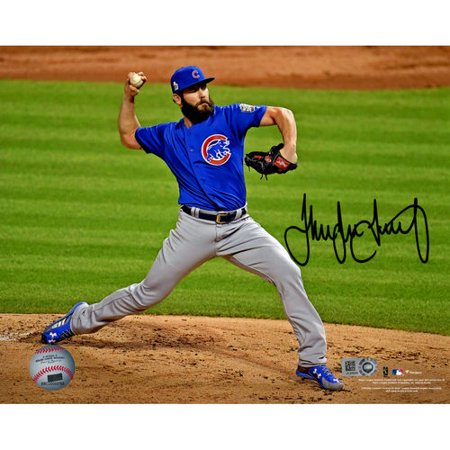 Jake Arrieta Chicago Cubs 2016 Mlb World Series Champions Autographed 8   X 10   World Series Pitching Photograph