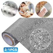 Aluminum Foil Peel and Stick Wallpaper Sticker, Water Oil Proof Wall Paper Sticker for Countertops Kitchen Cabinets Appliance Dishwasher Mini Refrigerator Oven Dryer Covers 15.6x78.7 Inch, 2/1Pcs