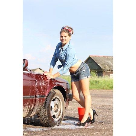 Girls Village (Peel-n-Stick Poster of Car Russia Girl Village Machine Summer Pin Up Poster 24x16 Adhesive Sticker Poster)