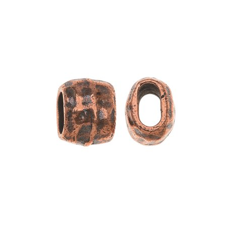 Antiqued Copper Plated Lead-Free Pewter Hammered Barrel Bead 4x2mm - Pack Of 2