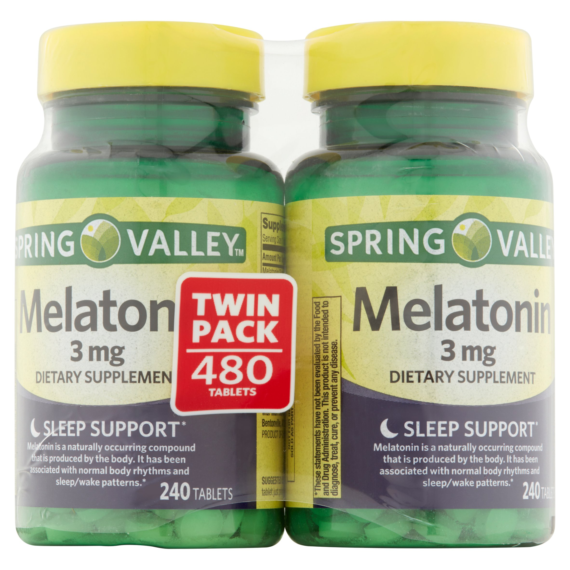Spring Valley Melatonin Tablets, 3 mg, 240 Ct, 2 Pk