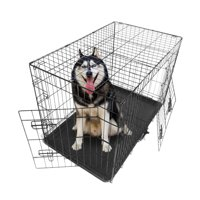 """Dog Crates and Kennels for Medium Dogs, 36"""" Double Door Dog Crate with Divider Panel, Folding Metal Pet Dog Cage Kennel with Leak-Proof Dog Tray/floor Protecting Feet, 36L x 23W x 25H IN, I8373"""
