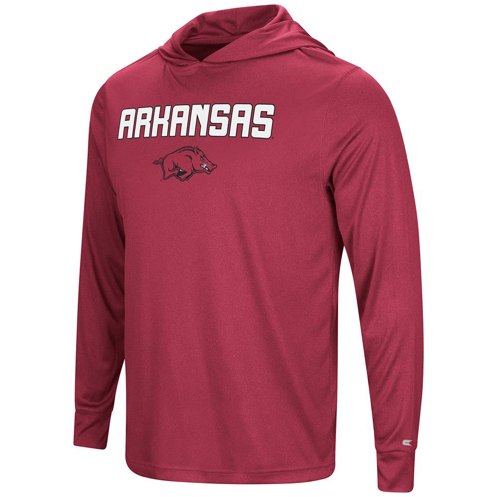 Mens Arkansas Razorbacks Long Sleeve Hooded Tee Shirt - S
