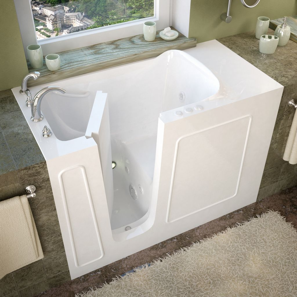 Meditub 26x53 Left Drain White Whirlpool Jetted Walk-In Bathtub