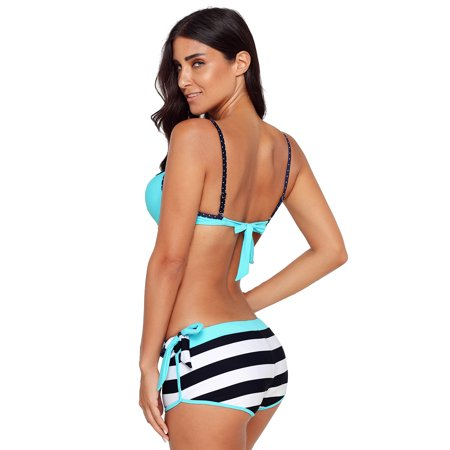 c01d6c0e2f Juniors  Swimsuit Celebrity Blue Wrinkled Bra Striped Bikini Bottom Swimsuit  (multicolor
