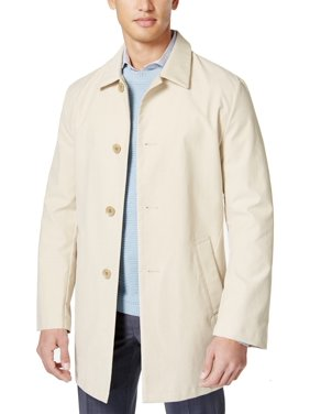 DKNY NEW Solid Khaki Beige Mens Size 40S Slim Fit Trench Raincoat