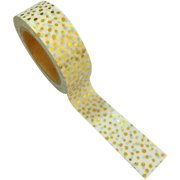 Love My Tapes Foil Washi Tape 15mmx10m-Gold White Dots