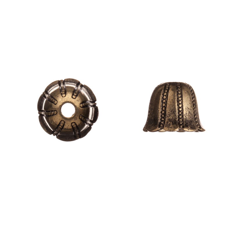Beaded Line Antique Copper-Plated Bead Cap/Cord End Fits 12-14mm Beads 10x10mm Sold per pkg of 4pcs per pack