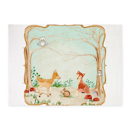 CafePress - Woodland Creatures Animals Deer Fox Rabbit Owl Art - 5'x7'Area Rug ()