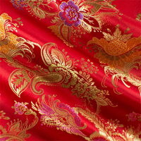 Red/Multi Floral Paisley Brocade, Fabric By the Yard
