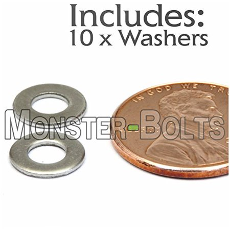 (10) M4 / 4mm Stainless Steel Flat Washer DIN 125A A2 / 18-8 - Metric (10, 4mm (M4)) 4 Mm Flat Light