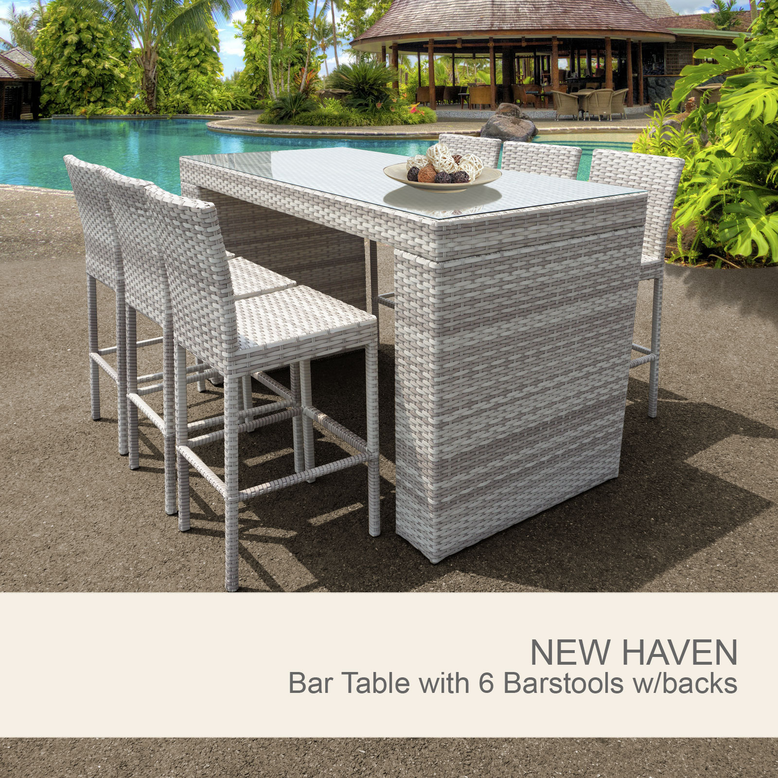 New Haven Bar Table Set With Barstools 7 Piece Outdoor Wicker Patio ...