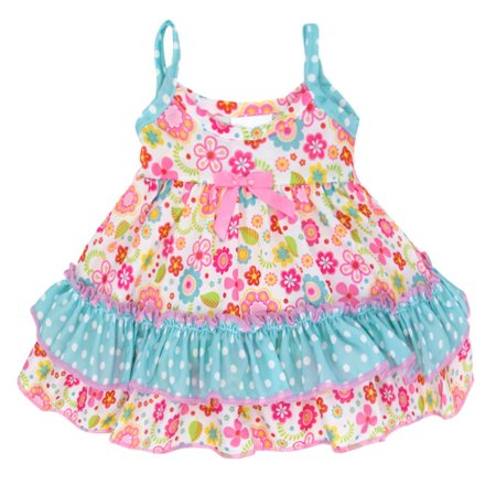 fc7ef520d4 Laura Dare Big Girls Pink Blue Polka Dot Floral Print Ruffle Nightgown