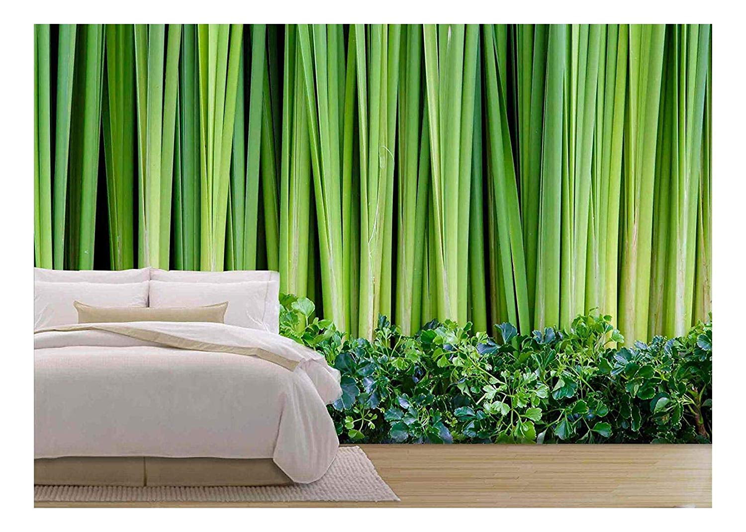 Wall26 Green Leaves Wall Background - Removable Wall Mural ...