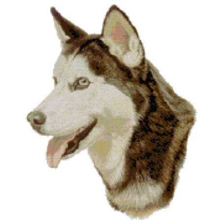 Tiger Cross Stitch Pattern - Siberian Husky Dog Portrait Counted Cross Stitch Pattern